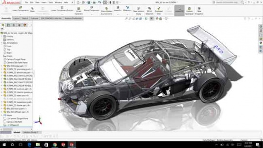 Image of SolidWorks software environment