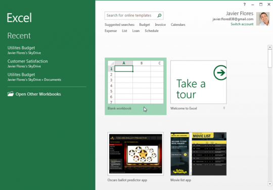 Excel start page