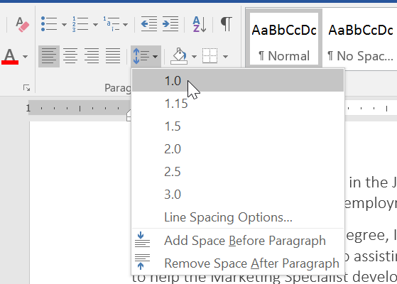 paragraph and spacing in word