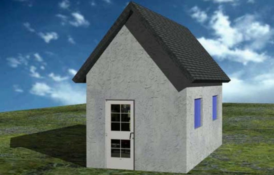تصویر نهایی ساختمان سه بعدی شده در اتوکد