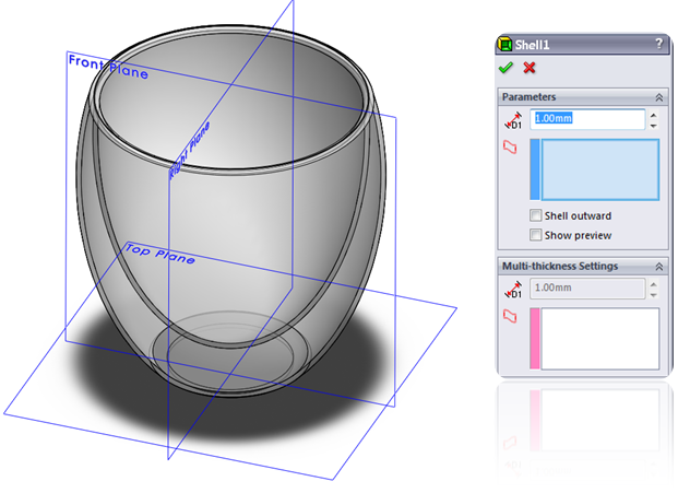Shell a solid volume in SolidWorks