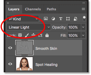 Changing the blend mode of the Smooth Skin layer to Linear Light