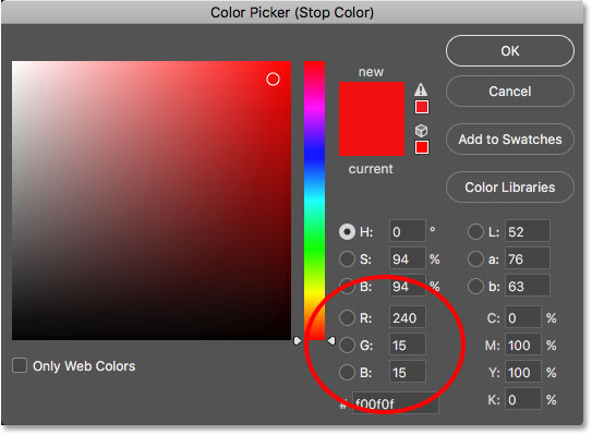 Choosing red for the left side of the gradient.