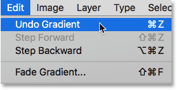 Choosing Undo Gradient from under the Edit menu.