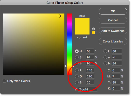 Choosing yellow for the right side of the gradient.