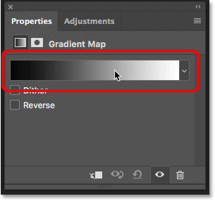 Clicking on the gradient preview bar in the Properties panel