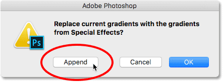 Clicking the Append button.