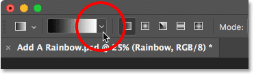 Clicking the arrow to the right of the gradient preview thumbnail.