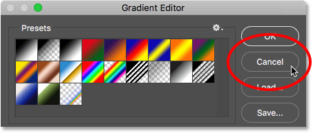 Clicking the Cancel button to close the Gradient Editor.
