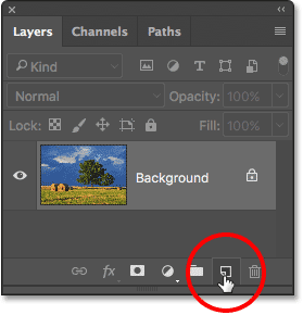 Clicking the New Layer icon in the Layers panel.