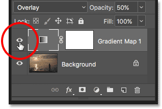 Clicking the visibility icon for the Gradient Map adjustment layer.