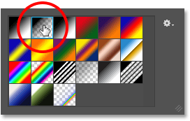 Double-clicking on the Foreground to Transparent gradient.