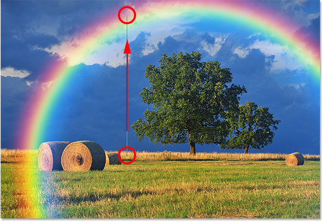Drawing a gradient from the group up to near the top of the rainbow.