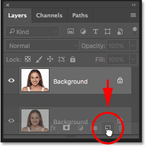 Duplicating the Background layer in the Layers panel in Photoshop