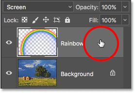 Right-clicking (Win) / Control-clicking (Mac) on the Rainbow layer.