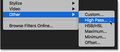 Selecting the High Pass filter from under the Filter menu in Photoshop