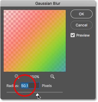 The Gaussian Blur filter dialog box.