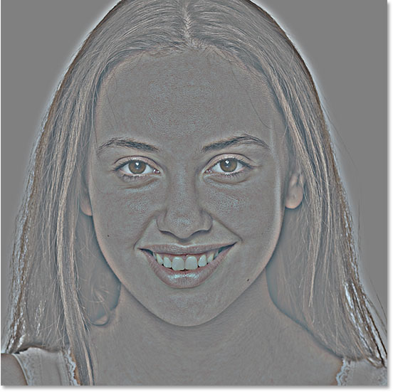 The image after applying Photoshop's High Pass filter to detect the edges