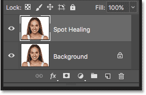 The image has been copied onto a new layer named Spot Healing
