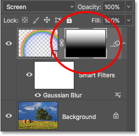 The layer mask thumbnail showing the gradient.