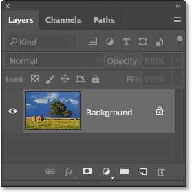 The Layers panel showing the photo on the Background layer.