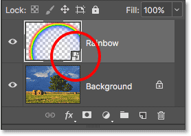 The Layers panel showing the Smart Object icon.