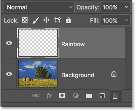 The new Rainbow layer has been added to the document.