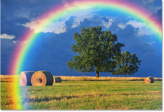 The result after applying the Gaussian Blur filter to the rainbow gradient.