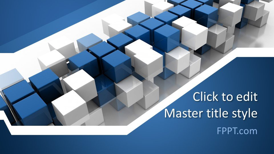3D Box PowerPoint template design with blue colors