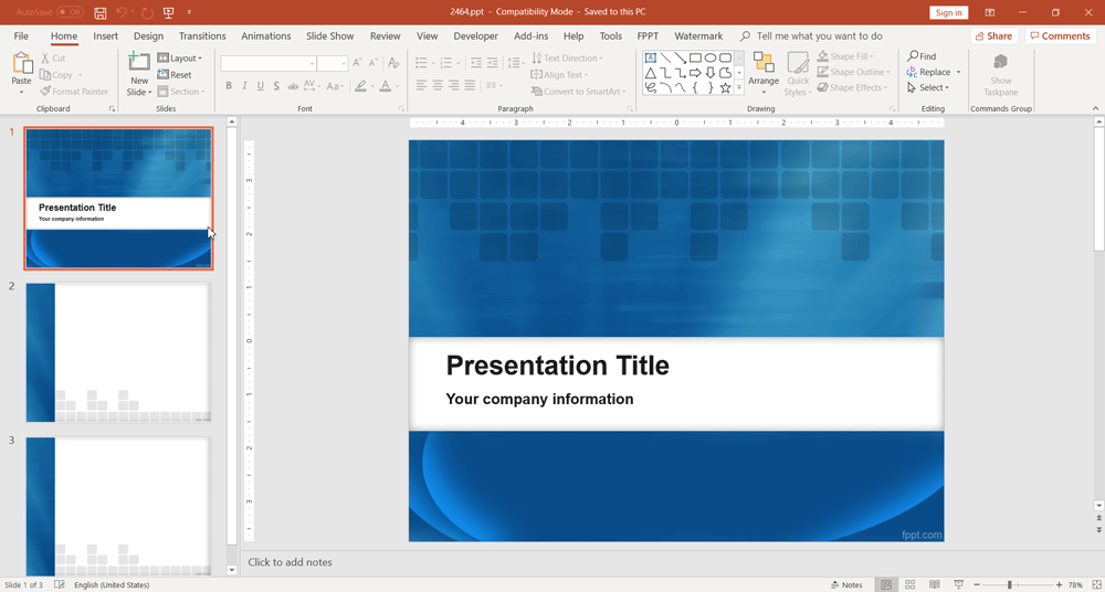 Blue background design for PowerPoint presentations