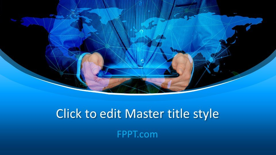Exclusive blue global business template for PowerPoint