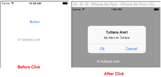 ios alerts swift app example result or output