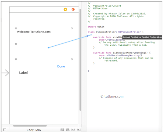 ios map ui textview control to viewcontroller.swift file in xcode