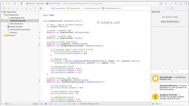 ios progress bar viewcontroller file in xcode