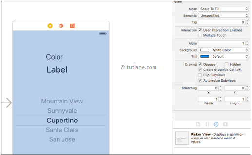 ios ui pickerview add controls to storyboard file in xcode