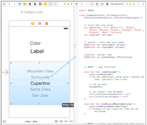 ios ui pickerview map controls to code using xcode