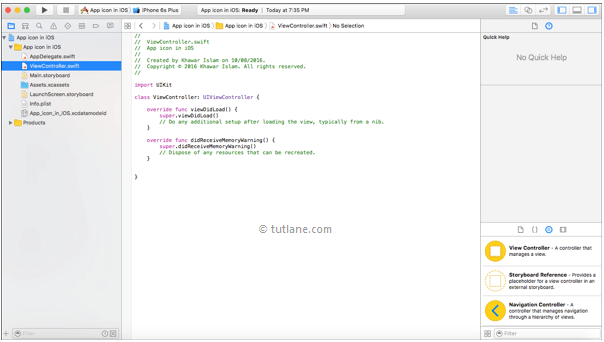 ios app icon viewcontroller.swift file in xcode editor