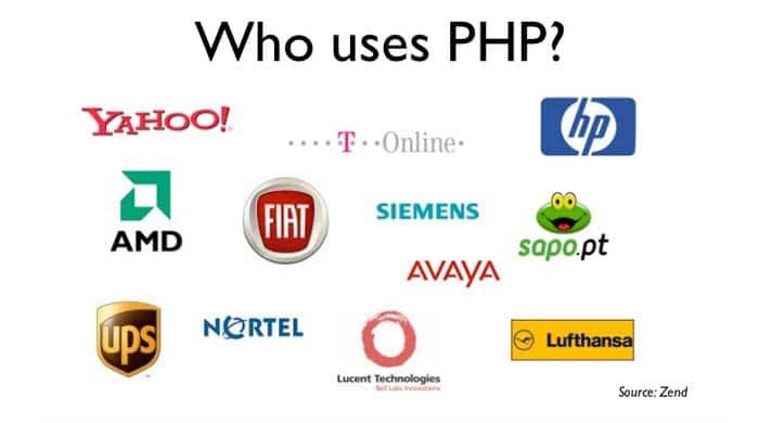 شرکت های معروف استفاده کننده پی اچ پی