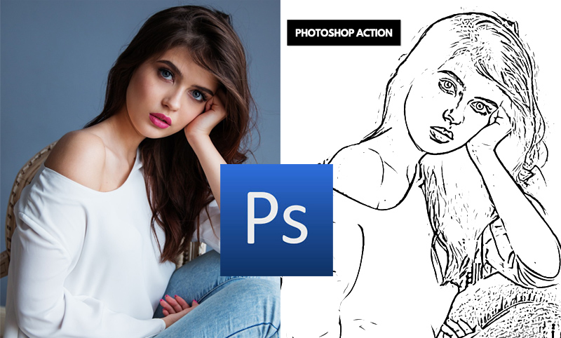 Line Drawing Photoshop Action