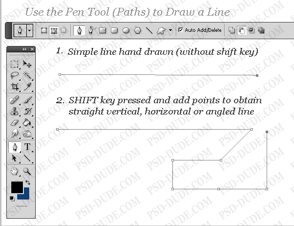 use pen tool to draw a straight line in Photoshop